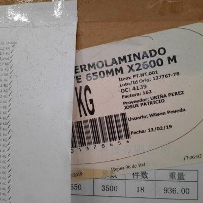 THERMOLAMINADO MATE 650MM X2600 M